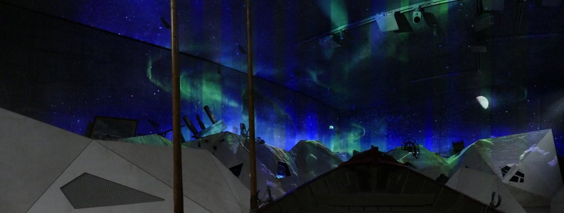 Projection on concrete walls in the Tirpitz Museum