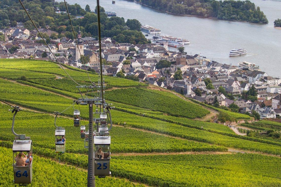 Seilbahn von Rüdesheim über die Weinlagen zum Niederwalddenkmal