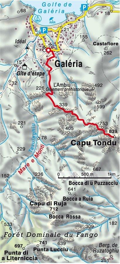 Karte der Korsika Wanderung Capu Tondu