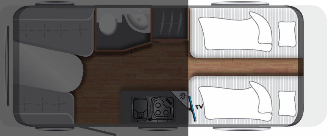 Wohnwagen Grundriss Einzelbetten