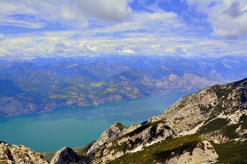 View from the mountains to lake Garda
