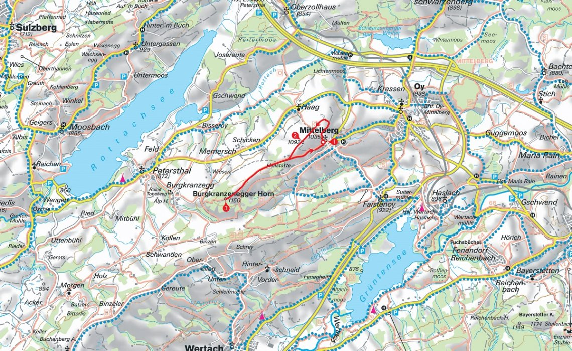 Karte Schneeschuhtour von Mittelberg zum Burgkranzenegger Horn
