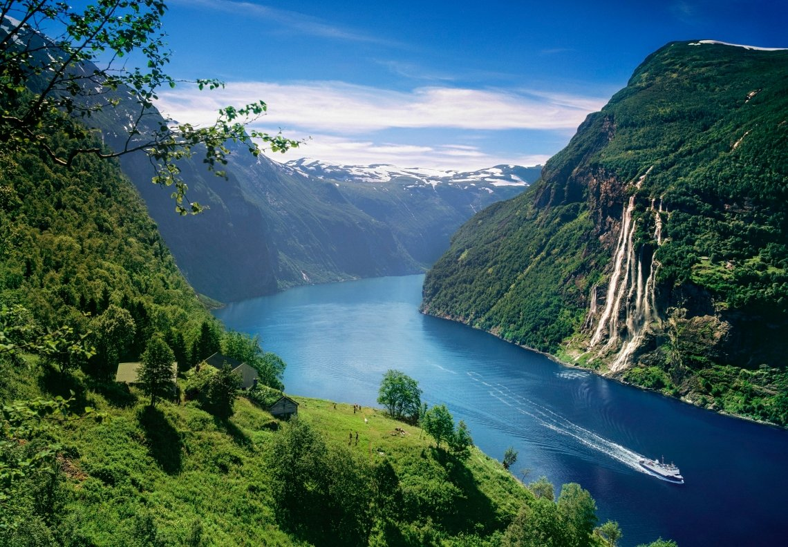 Geirangerfjord and waterfall Skageflå seen from above, Norway