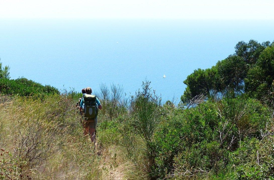 Wandelen in Ligurië, Italië, door het struikgewas