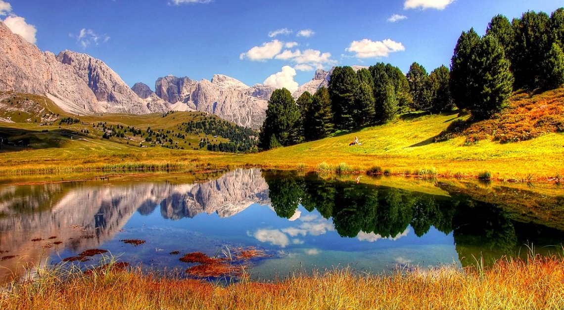 Herfst in het Groedner Tal in de Dolomieten