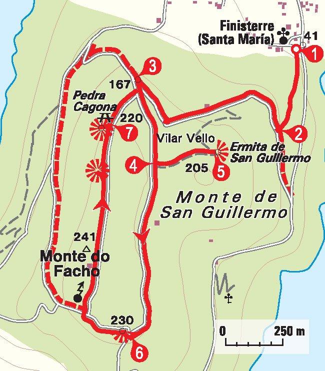 Karte Rundwanderung Finisterre