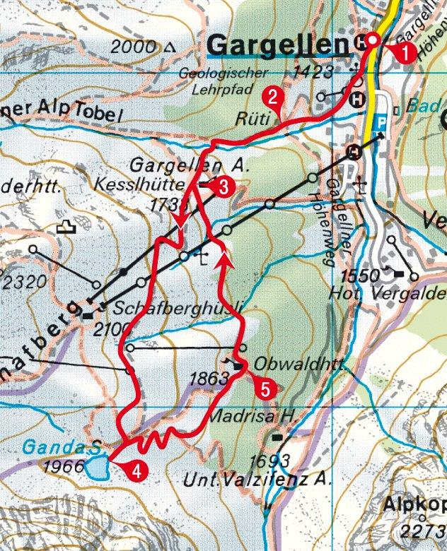 Karte der Rundwanderung zum Gandasee ab Gargellen