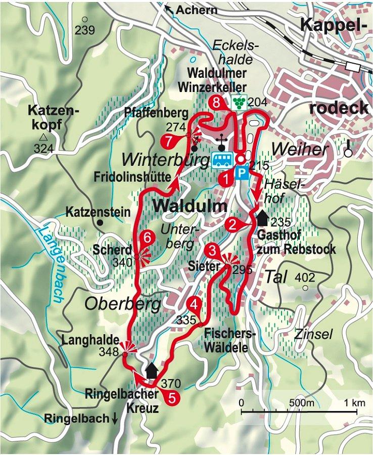 Karte der Weinwanderung rum um Waldulm in der Ortenau