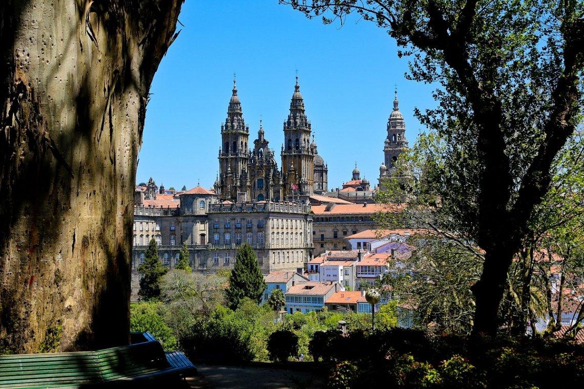 Blick auf die Kathedrale von Santiago de Compostela