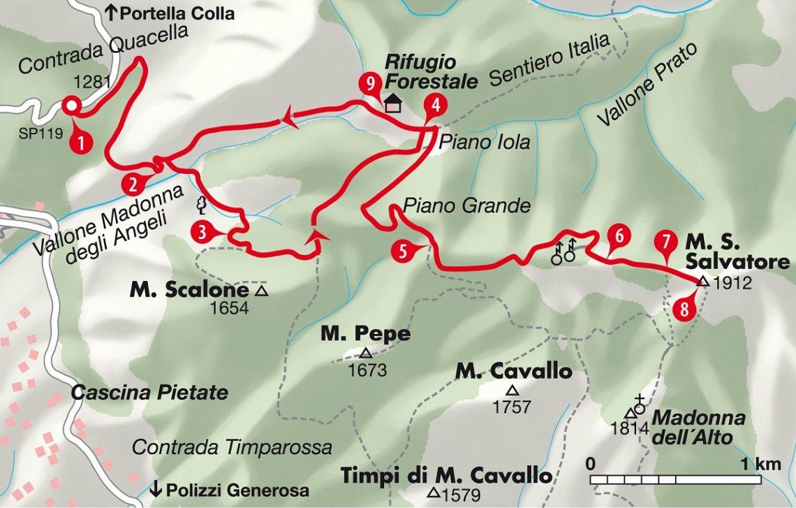 Ausschnitt Wanderkarte Monte San Salvatore, Sizilien