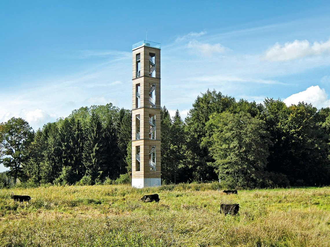 Blick auf Bannwaldturm im Pfrunger-Burgweiler Ried in Oberschwaben