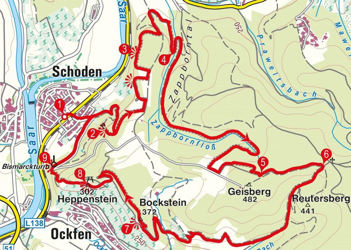 Karte der Rundwanderung ab Schoden