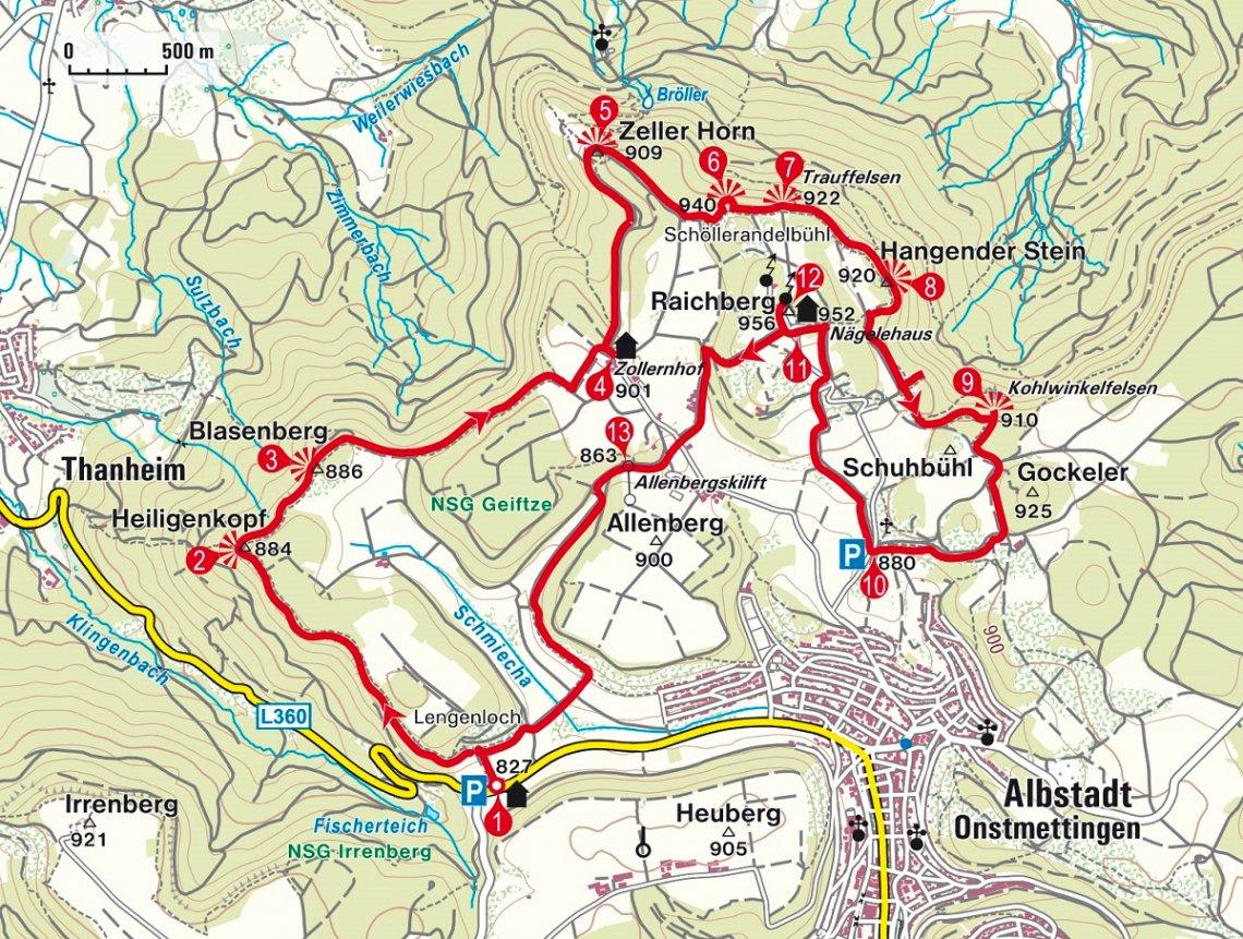 Karte der Rundwanderung auf dem Zollernburg-Panorama-Weg