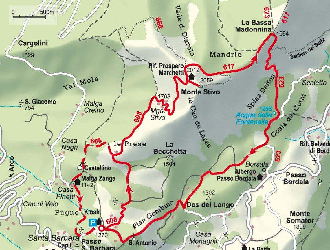 Karte der Wanderung zum Monte Stivo inklusive Variante für den Abstieg