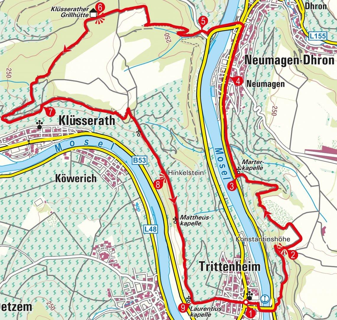 Karte der Rundwanderung ab Trittenheim