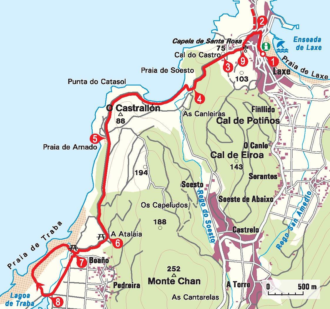 Karte der Küstentour in Galicien