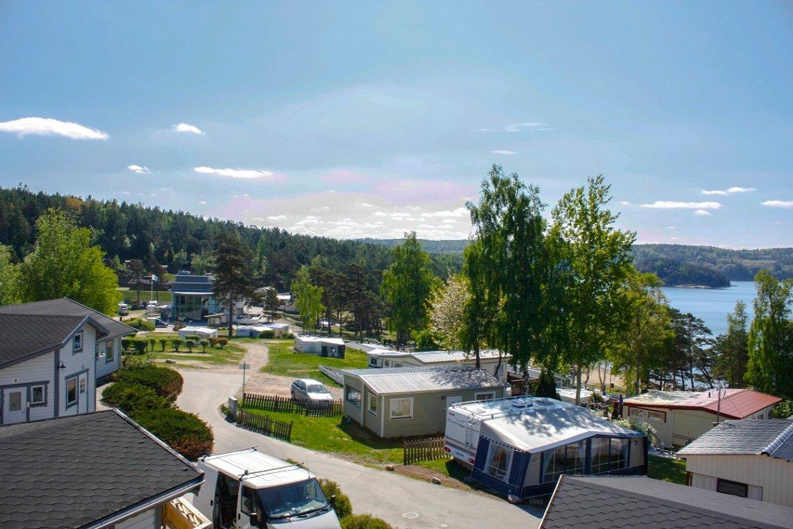 Blick auf den Campingplatz Hafsten Resort, Schweden