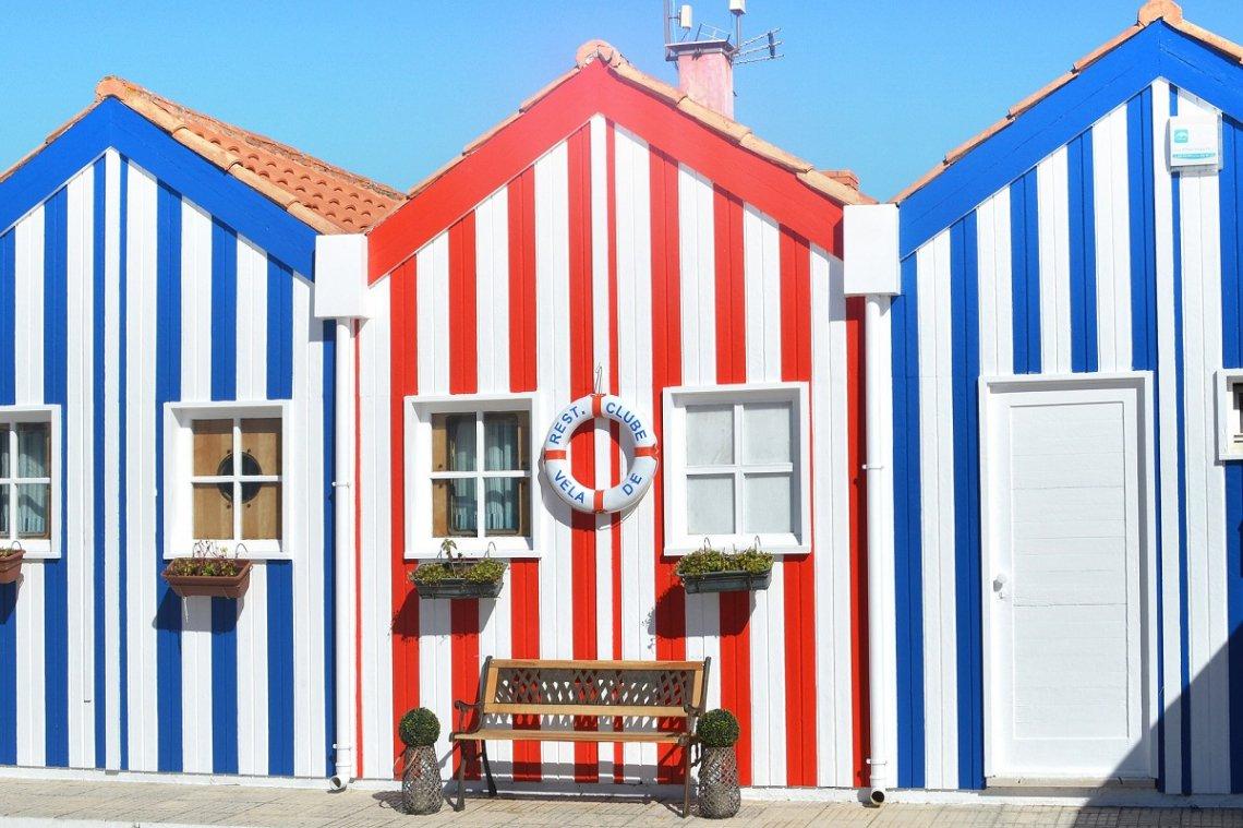 Striped wooden houses in Costa Nova near Aveiro, Portugal