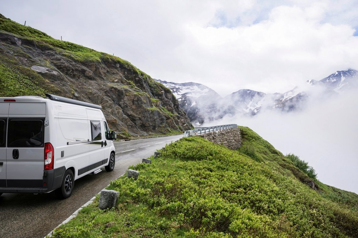 Carado campervan in the mountains in winter