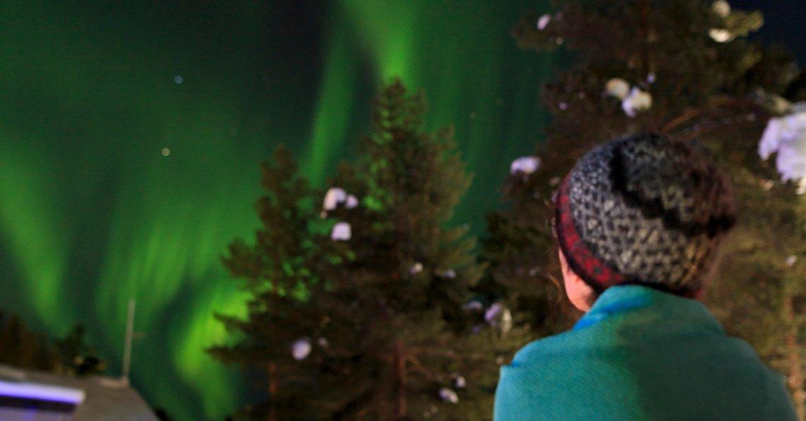 Noorderlicht boven Gällivare in Noord-Zweden