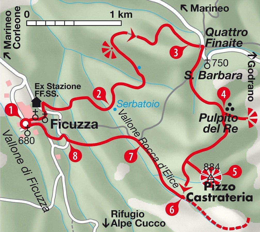 Karte Rundwanderung Sizilien durch den Wald von Ficuzza