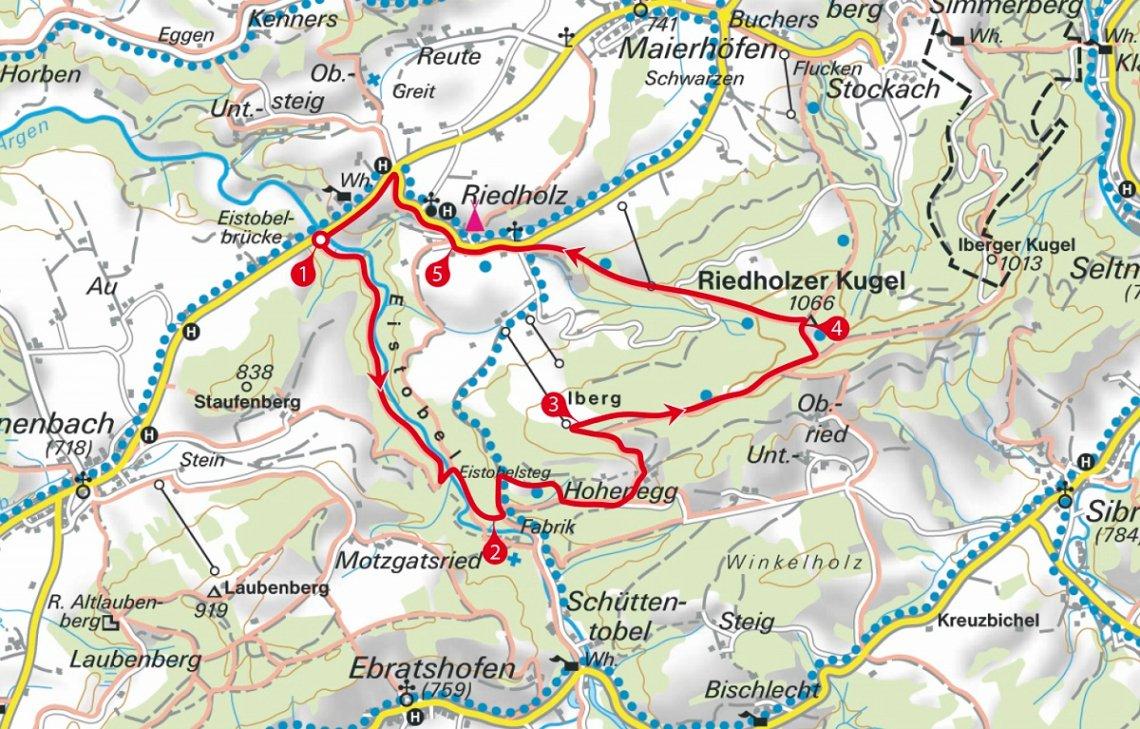 Überblickkarte Wanderung zur Riedholzer Kugel