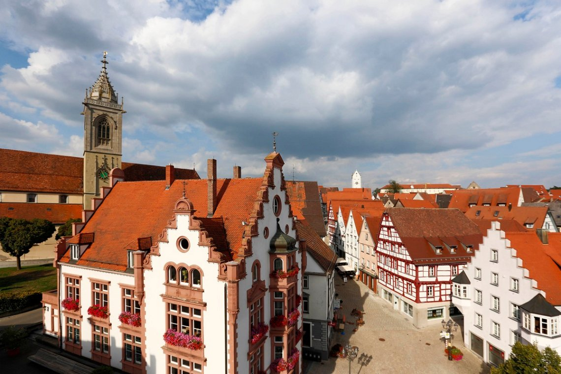 Blick auf die Altstadt von Pfullendorf von oben