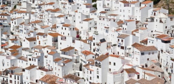 view on a typical white village in Andalusia