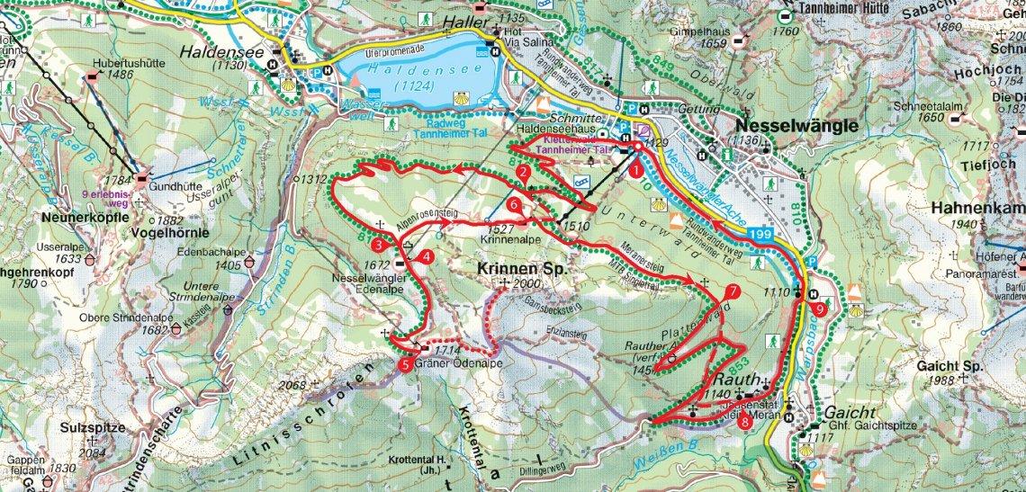 Karte Mountainbiketour rund um die Krinnenspitze in den Allgäuer Alpen