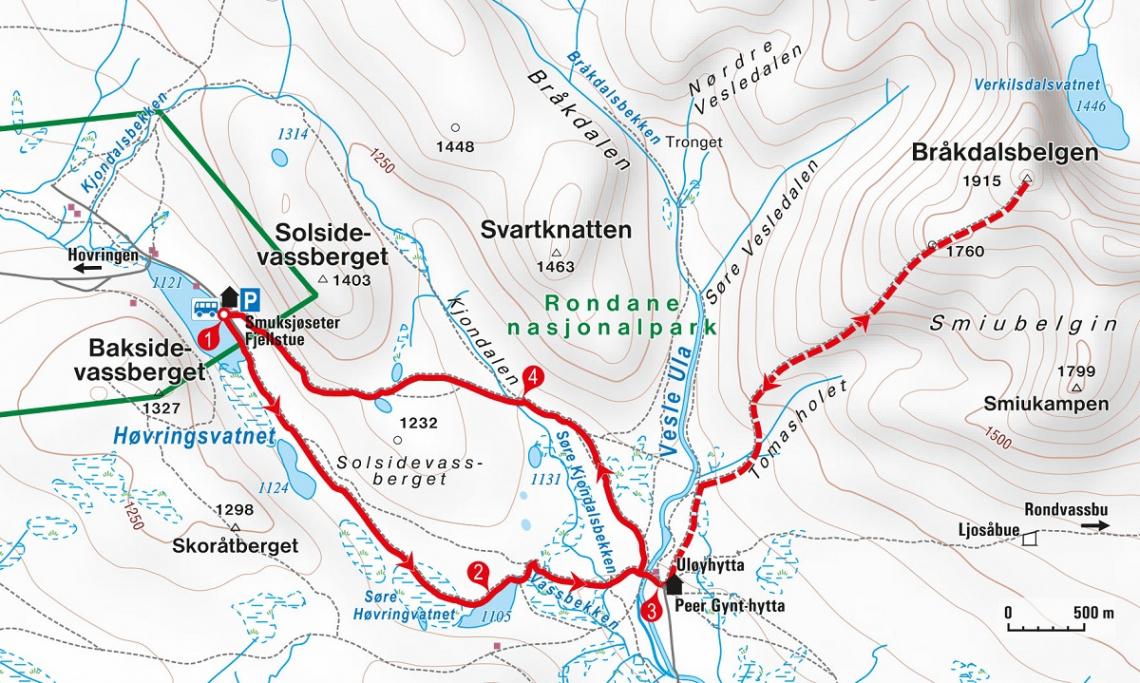 Wanderung Norwegen Rondane Karte