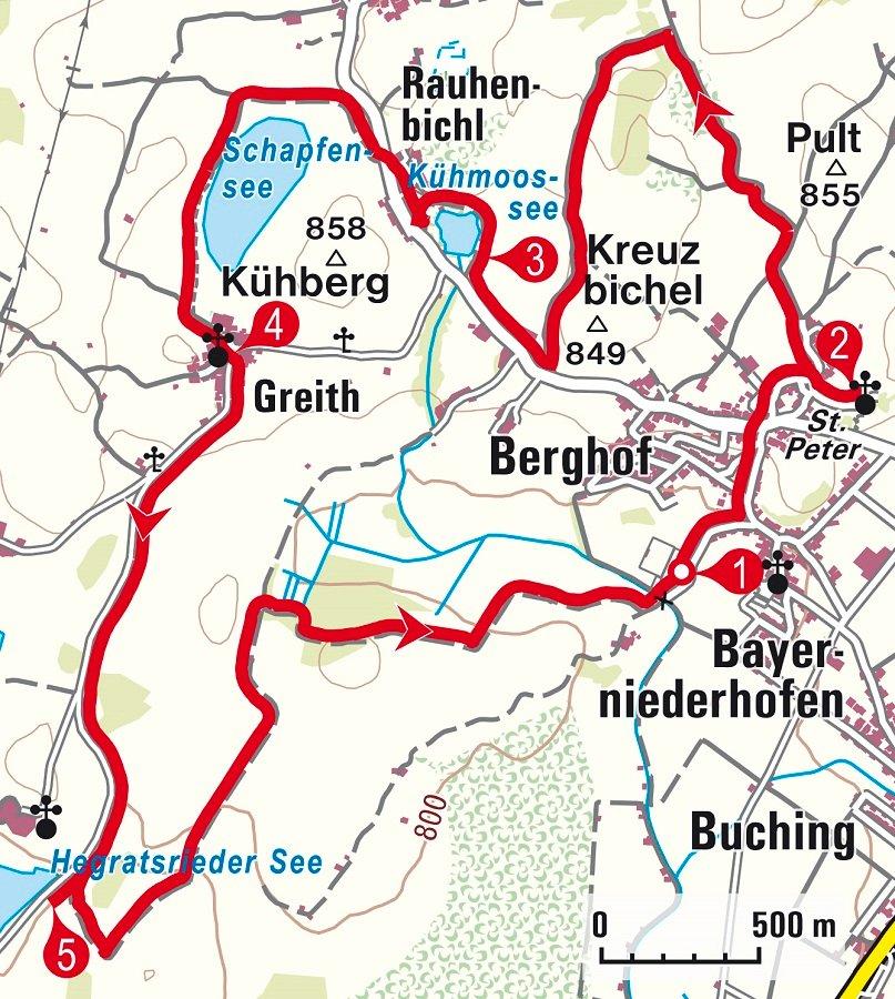 Karte zur Wanderung zum Hegratsrieder See