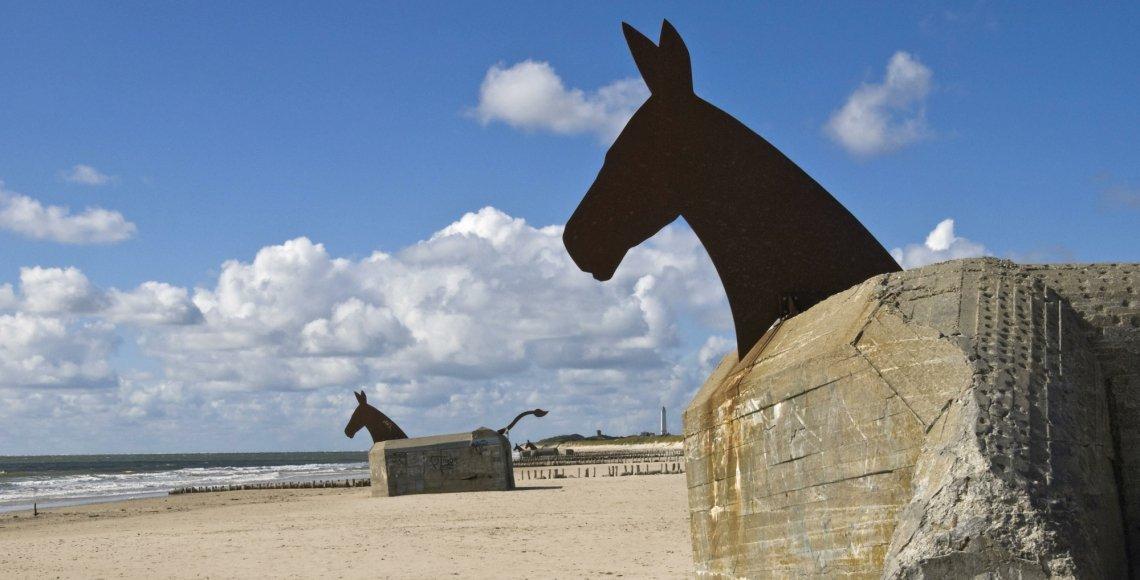 Bill Woodrow's peace sculpture on Blavand Beach