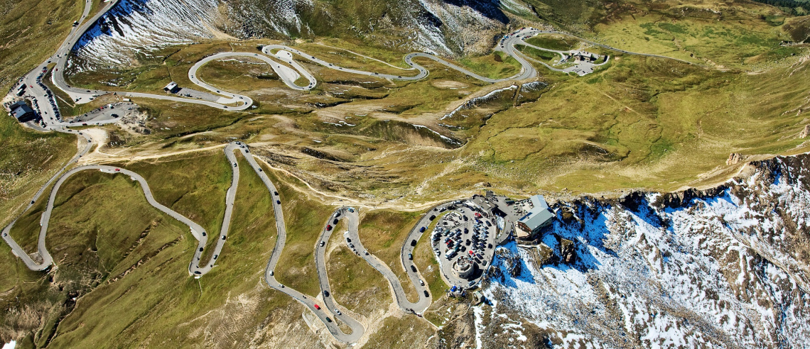 View from above on the Grossglockner High Alpine Road