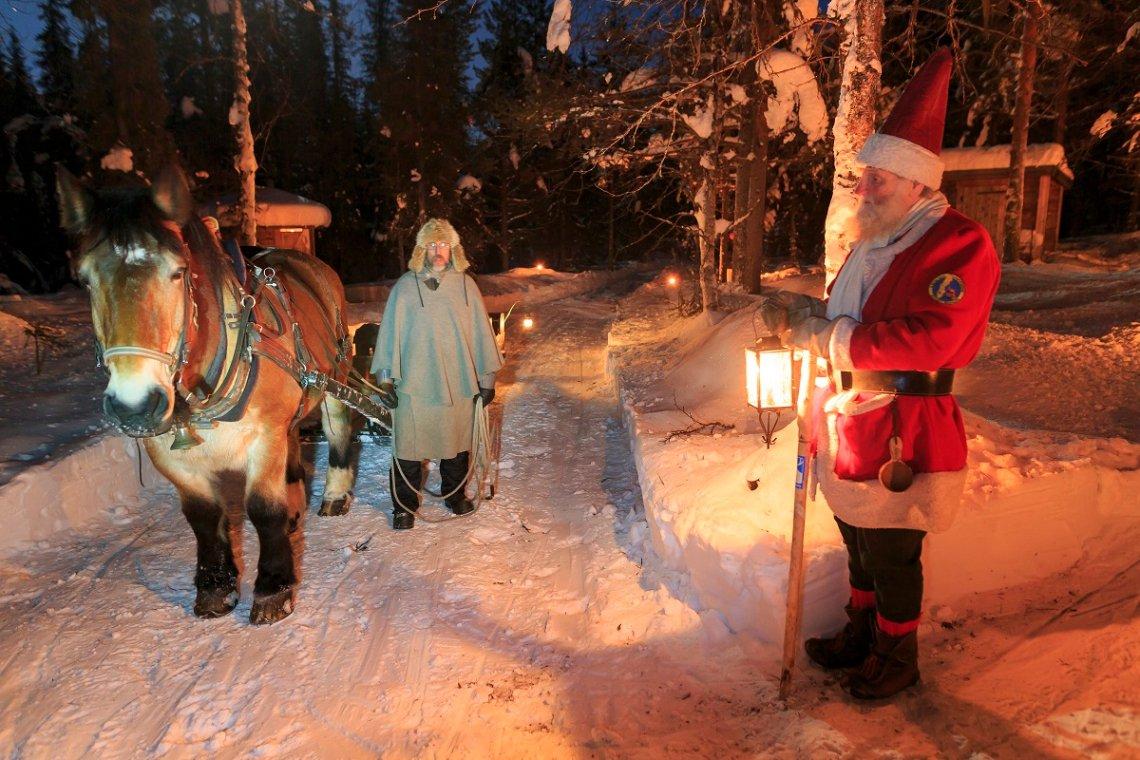 Met de slee naar de kerstman in Gällivare