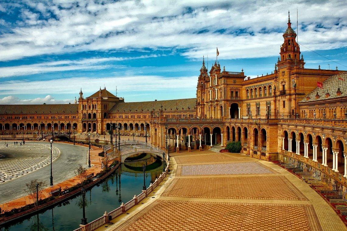 Plaza de España in Seville with semicircular complex of buildings