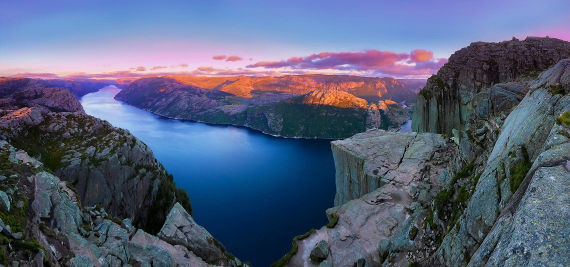 View on Pulpit Rock, Norway, at sunset