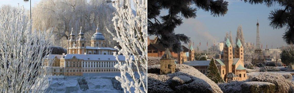 Der Miniaturpark Mini-Europe im Winter