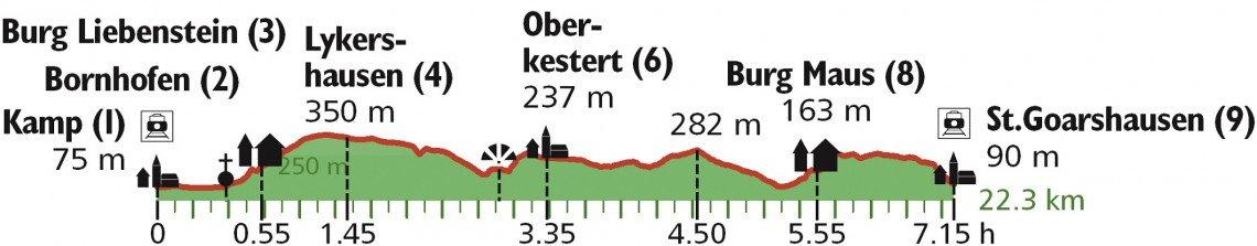 Höhenprofil Wanderung Taunus Burgen