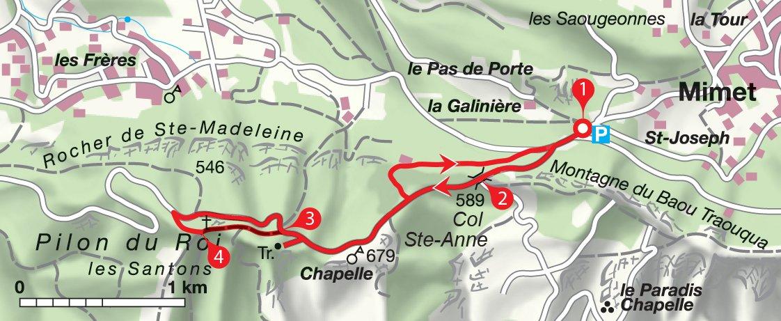 Karte Rundwanderung Pilon du Roi