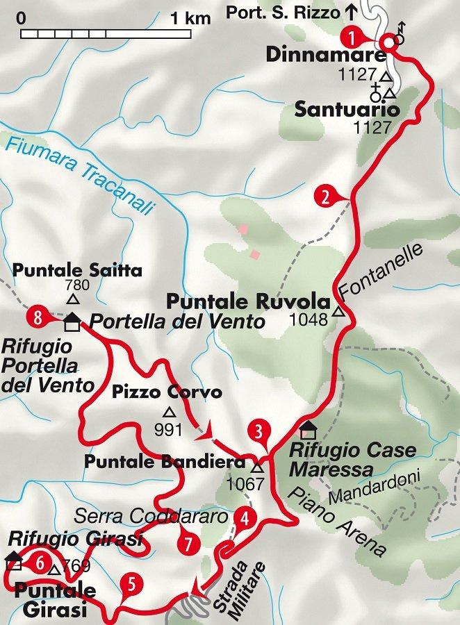 Karte Wanderung Dinnamare auf Sizilien, Italien