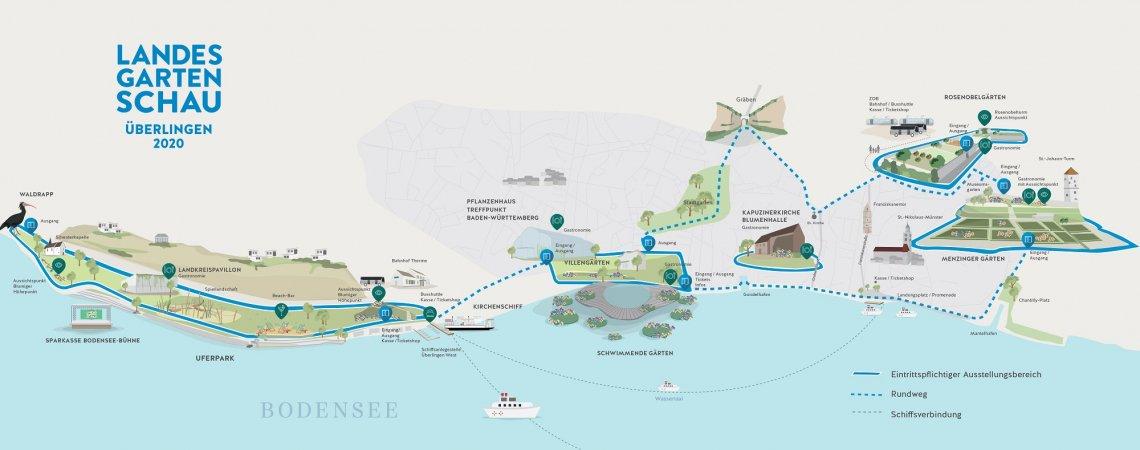 Skizze und Lageplan der Landesgartenschau Überlingen