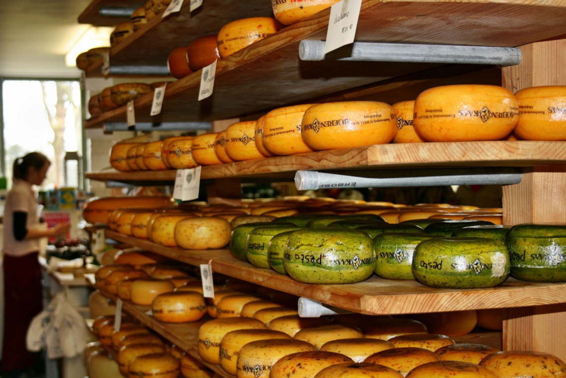 cheese shelf in the Schellach cheese dairy