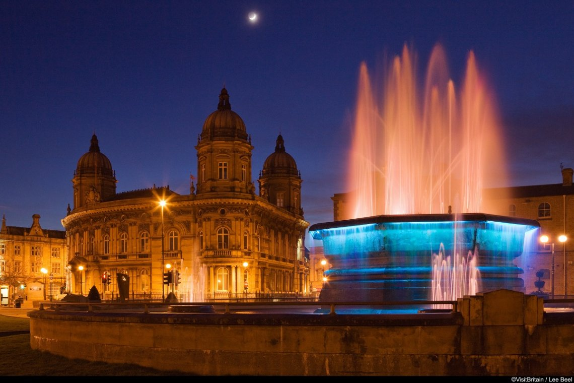 Queen's Gardens fountain in front of the Maritime Museum in Hull, England