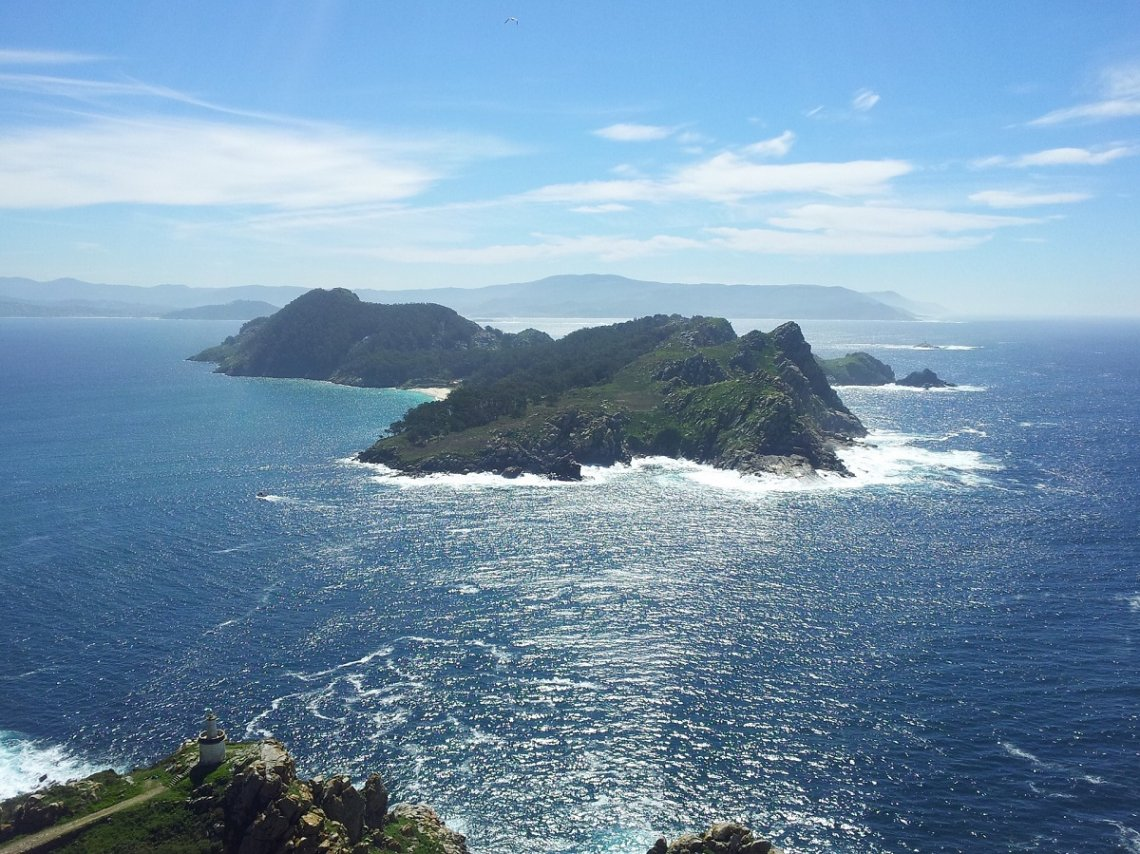 View of the Cies Islands off Vigo, Spain