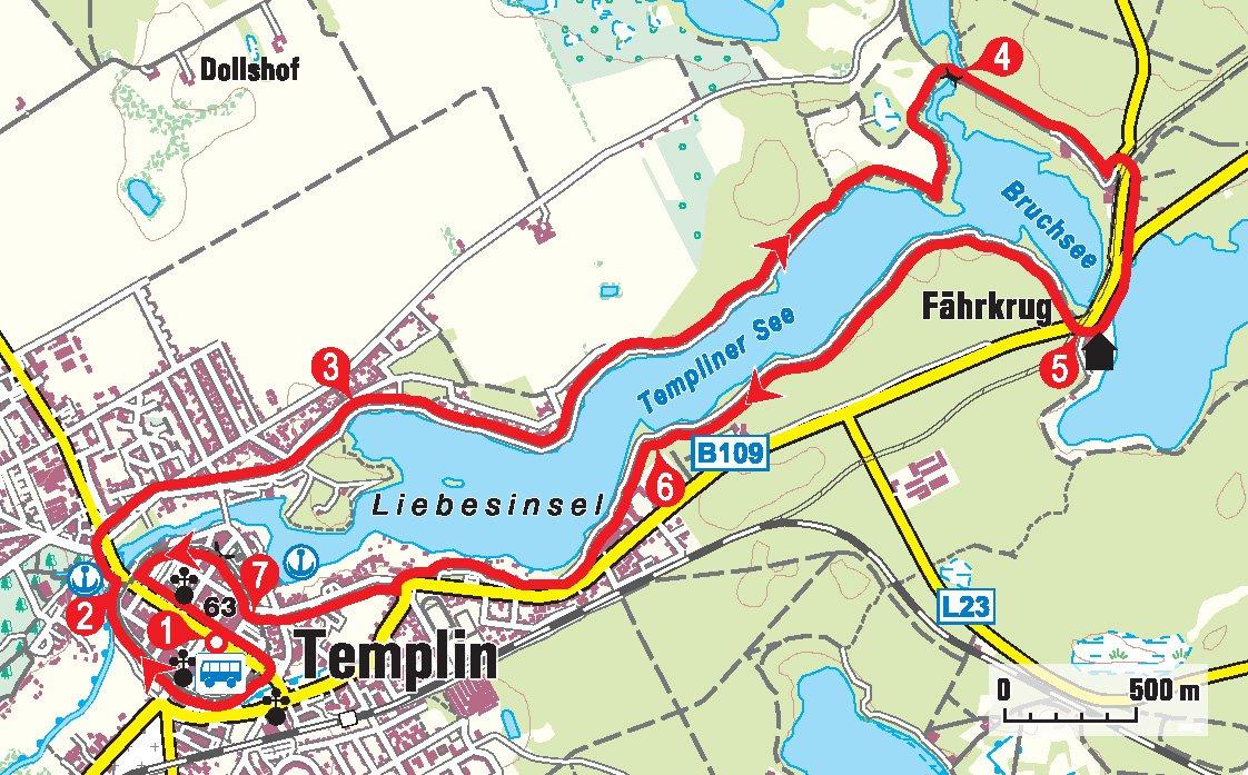 Karte der Wanderung rund um den Templiner See