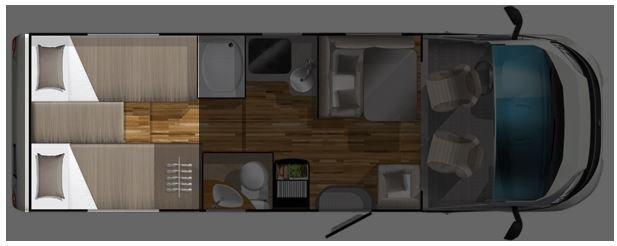 Grundriss Einzelbetten Reisemobil