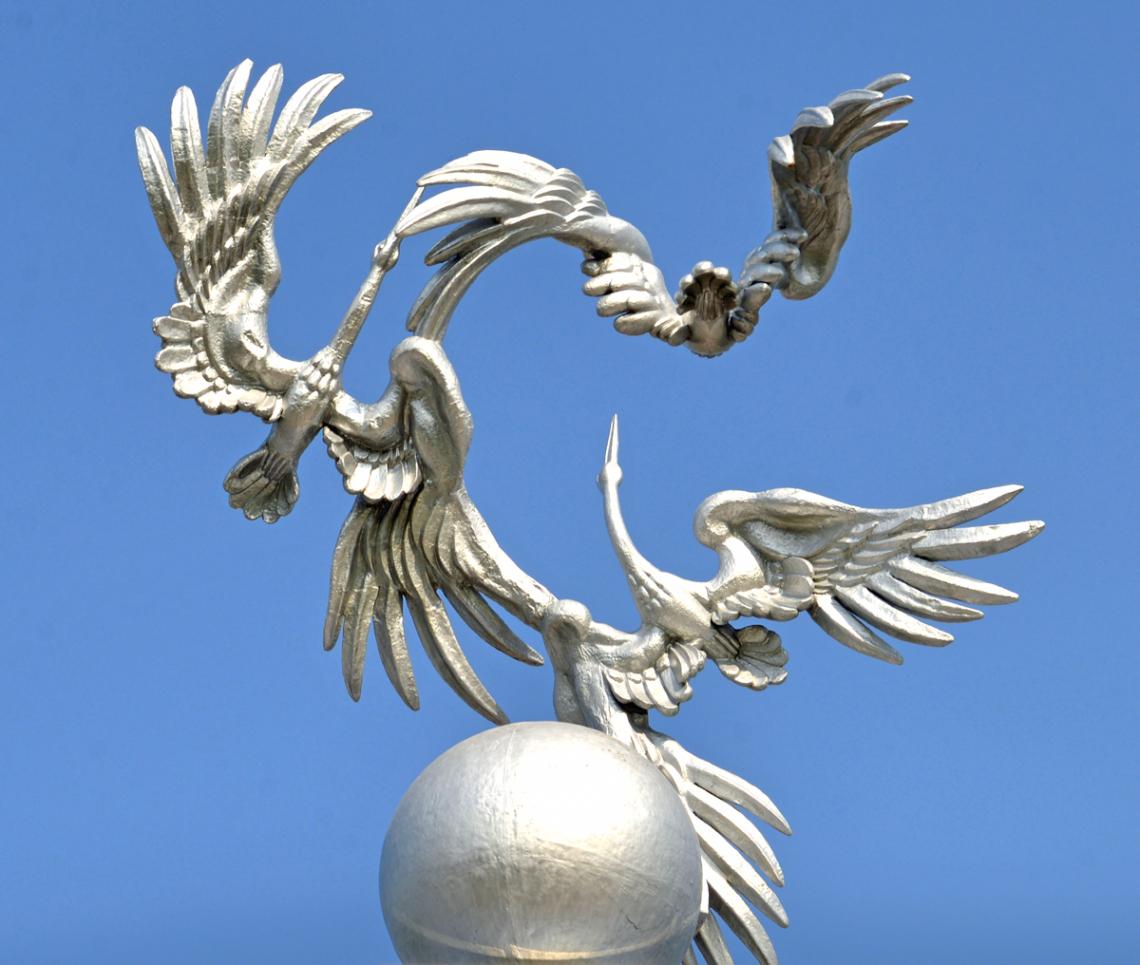 Skulptur mit Voegeln in Taschkent, Usbekistan