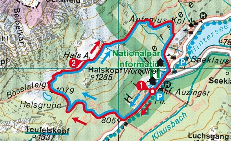 Karte der Rundwanderung zur Halsalm