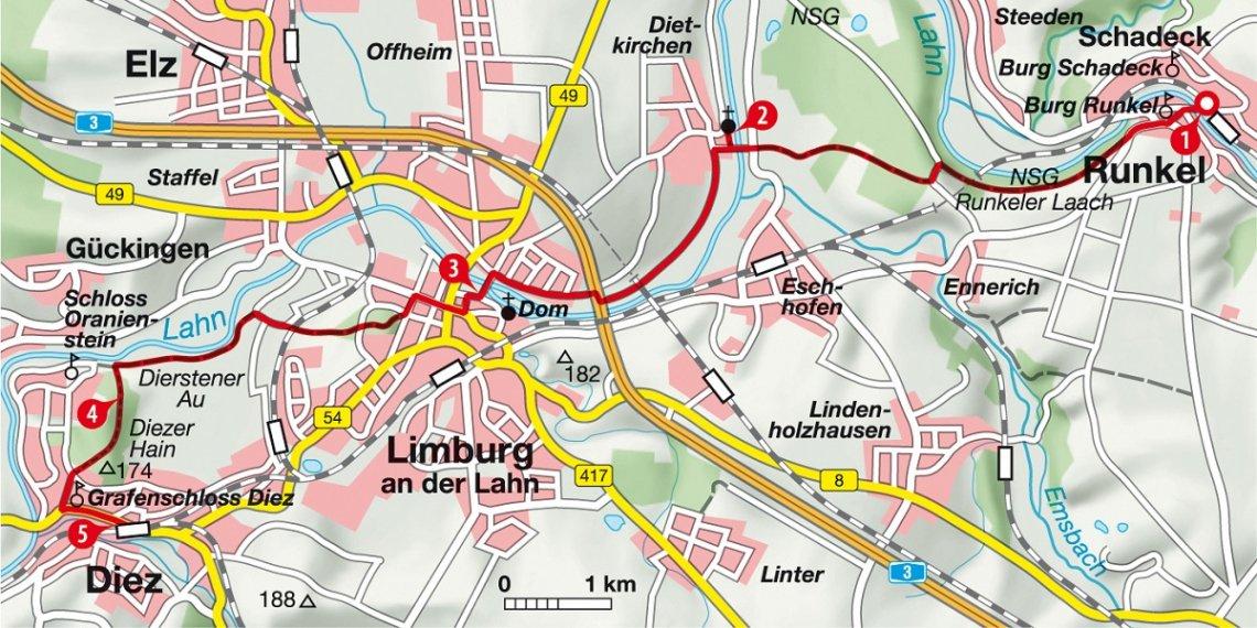 Karte Wanderung von Runkel nach Diez