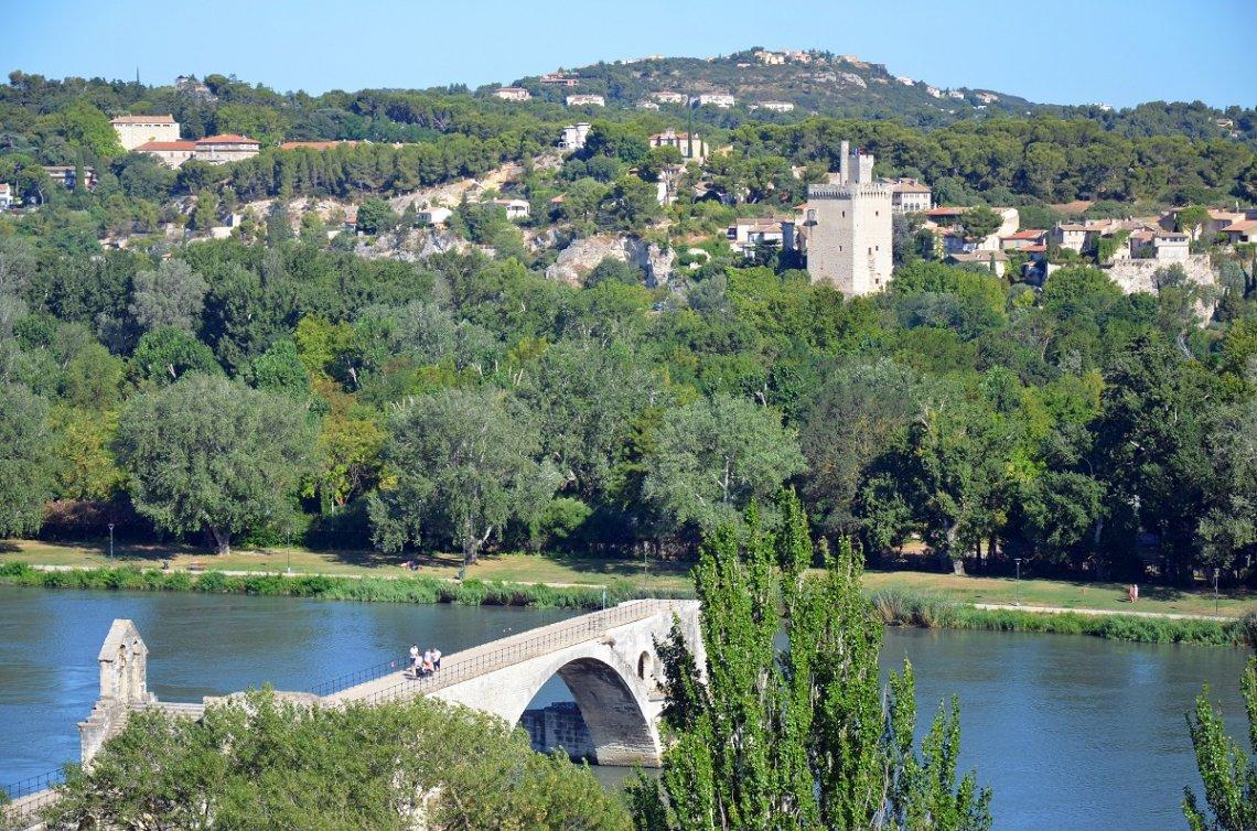 Blick über die Rhone auf Avignon